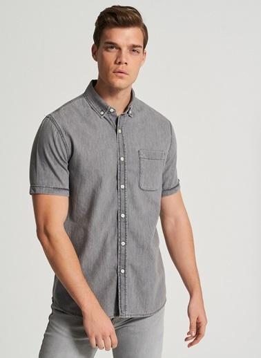 Pi π Yıkamalı Jean Gömlek Gri